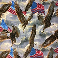"""Pico Textiles US Flags with American Eagles Allover Fleece Fabric - 58-60"""" Wide - Style# 3037"""