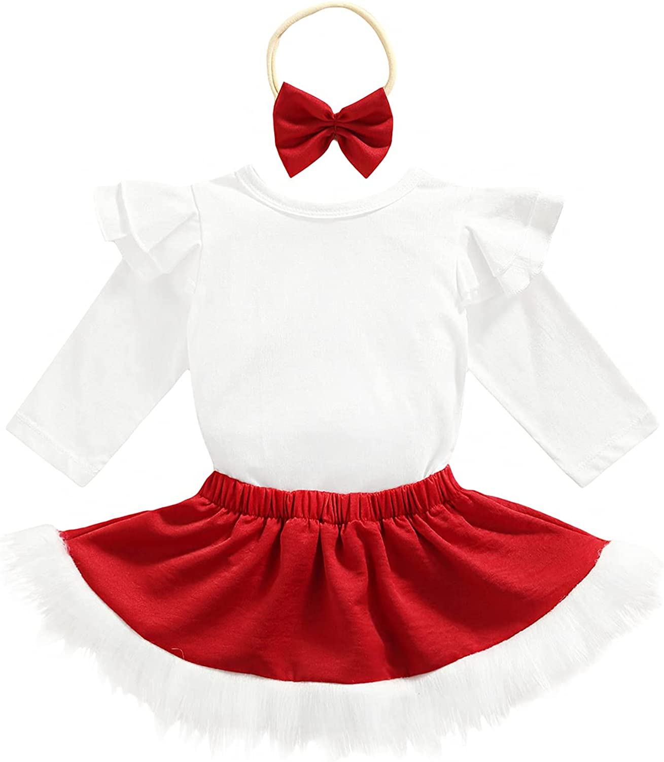 Infant Baby Girls Romper Skirt Christmas Outfit Set Flutter Sleeve Fluffy Cute Long Sleeve Xmas Clothes with Headband