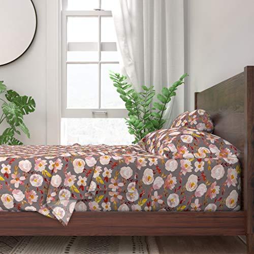 Why Choose Roostery Sheet Set, Autumn Fall Rust Pink Blush Gold Mustard Print, 100% Itallian Cotton ...