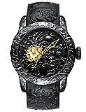 Relojes Hombre Reloj Automatico de Hombre Mecanicos Militar Impermeable Esqueleto Relojes de Pulsera de Goma Negro Grandes Estilo Chinese 3D Continuar Analógico