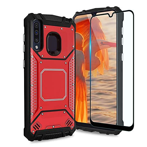 TJS Phone Case Compatible with Samsung Galaxy A20/Galaxy A30/Galaxy A50, [Full Coverage Tempered Glass Screen Protector] Aluminum Shockproof Magnetic Support Armor Built-in Metal Plate Back (Red)