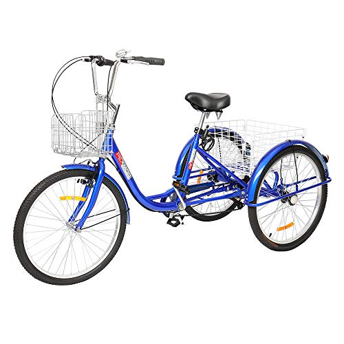 """PEXMOR Adult Tricycle 7 Speed 3 Wheel Trike Bike Cruiser with 26"""" Big Wheels Large Front and Rear Basket Hold Vegetables Fruits for Recreation, Shopping, Picnics Exercise Men's Women's Bike"""