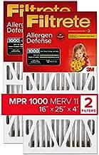 Filtrete 16x25x4, AC Furnace Air Filter, MPR 1000 DP, Micro Allergen Defense Deep Pleat, 2-Pack (actual dimensions 15.88 x 24.56 x 4.31)