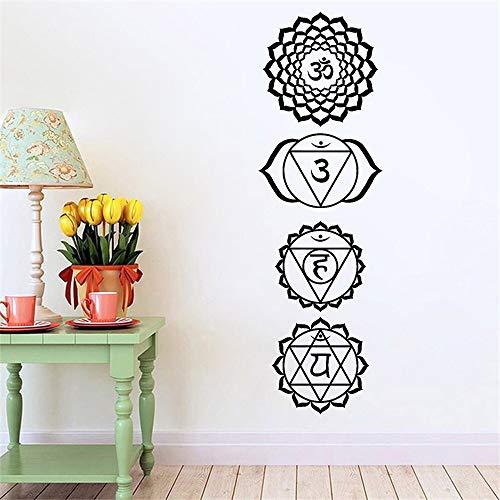 Böhmische Mandala Yoga Sanskrit Charakter Amulett Schlafzimmer Vinyl Aufkleber Tapete Dekorative Wandaufkleber Abnehmbare 102 cm x 32 cm