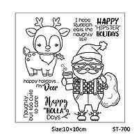 クリアスタンプヒップスターサンタクロースタンプペーパークラフトカードクリスマスの見積もりスタンプを作る