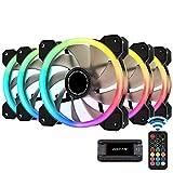 EZDIY-FAB RGB Dual Ring 120mm Caso Ventole,5V Scheda Madre SYNC,velocità Regolabile,RGB SYNC Fan con 10 Porte Fan Hub X e Telecomando-5 Pack