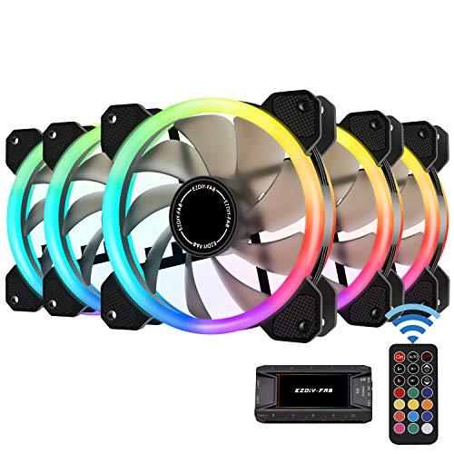 EZDIY-FAB Ventiladores RGB de Doble Anillo de 120mm,5V Motherboard Sync,La Velocidad es Ajustable,RGB Sync Fan con 10-Port Fan Hub X y Remote-5 Pack