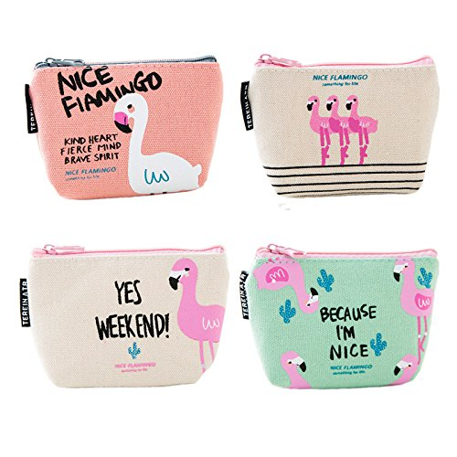 Cute Flamingo Canvas Coin Purse Zipper Wallet Coin Bag, Pack of 4