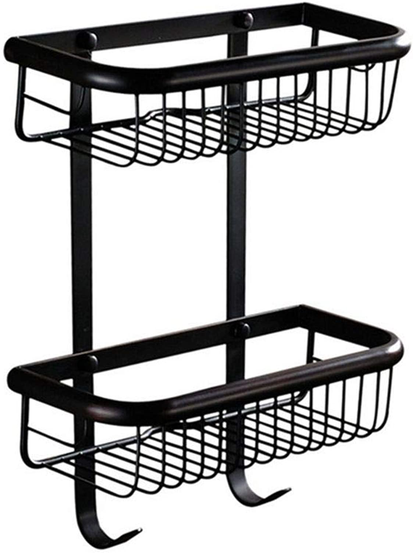 LUDSUY Bathroom Wall Shelf Doule-Tier Black Bronze Finish Copper Bathroom Basket Racks with Hook