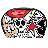 TIZORAX Abstract Punk Skull Rock Red Lips Cosmetic Bag Travel Handy Organizer Pouch Makeup Bags...