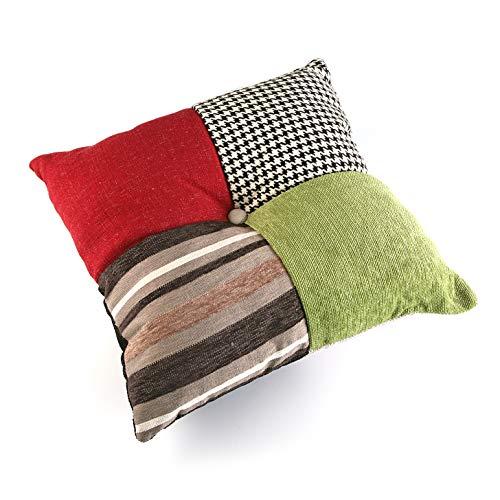 Versa - Bl/Gr Patchwork Cojín Decorativo con relleno Cuadrado de Algodón para Sofá, Sillón, Cama, Sillas, 15 x 45 x 45 cm, Rosa, Rojo y Azul