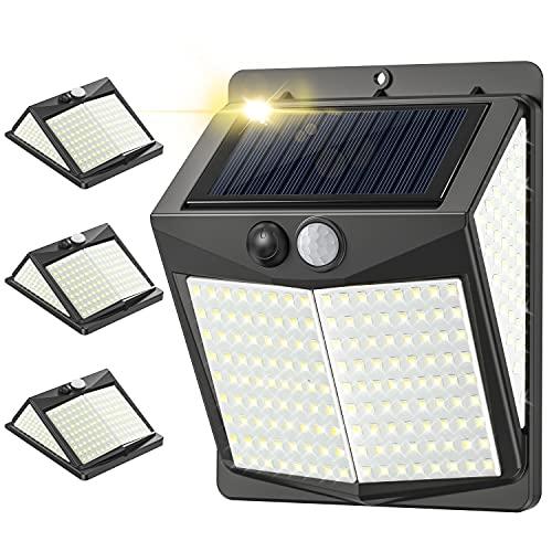 238 LED Luz Solar Exterior 3 Modos / 800lm, 4Pcs Luz Exterior con Sensor de Movimiento, IP65 Impermeable Focos Led Exterior, Iluminación 270° Lampara Solar Exterior para Jardín, Terraza y Garaje