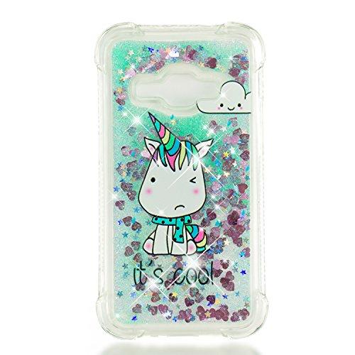 Cover per Samsung galaxy j1 2016 Liquido Glitter Bling Sabbie Mobili Leton Morbido Gel TPU Custodia galaxy j120 Silicone Flessibile Trasparente Antiurto Protettiva Bumper 3D Brillantini Unicorno Verde