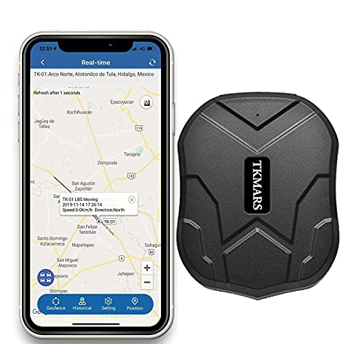 Hangang Localizador gps para coche , GPS Tracker APP   Sitio web posición en tiempo real Antirrobo GPS Localizador para Vehículos fuerte imán y 5000 mAh recargable impermeable GPS Tracker