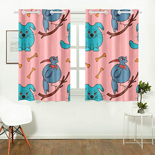WIEDLKL Japanese Window Curtains Cute Animals Simple Minimalistic Kitchen Window Curtains Mainstays Blackout Curtains for Cafe Bath Laundry Living Room 26x39inch 2pieces