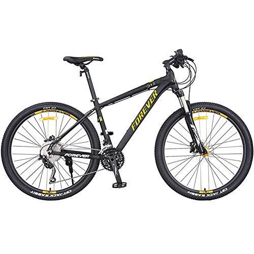Mountain Bike da 27,5 Pollici Hardtail Mountain Bike a Sospensione Completa con Forcella Ammortizzata/Freno a Doppio Disco Idraulico Bici da Montagna per Fuoristrada Leggera a 30 velocità, Oro Nero