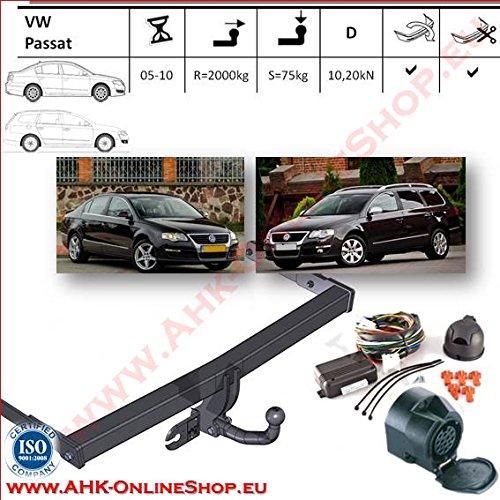 AHK Anhängerkupplung mit Elektrosatz 13 polig für VW Passat B-6 2005-2010 Kombi, Stufenheck Anhängevorrichtung Hängevorrichtung - starr, mit angeschraubtem Kugelkopf