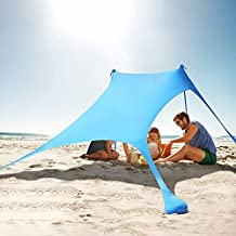 KMM Beach Tent Sun Shade, 7×7 FT Family Beach Canopy with UPF50+ UV Protection, Pop Up Sun Shelter for Beach, Fishing, Backyard, Camping and Outdoors