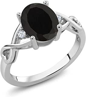 Black Onyx and White Topaz 925 Sterling Silver Gemstone Birthstone Women's Ring (2.05 Cttw Oval, Available 5,6,7,8,9)