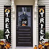 Latoy Halloween Decorations Porch Sign Set -Trick & OR & Treat Halloween Welcome Banners Couplets for Front Door Wall Indoor Outdoor Home Office Decorations