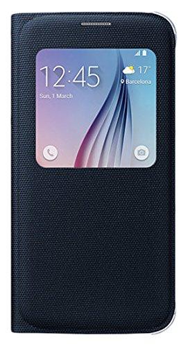 Samsung Fabric S-View Folio Schutzhülle Case Cover für Galaxy S6, schwarz