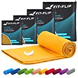 Fit-Flip Toallas de Microfibra – 15 Colores, 6 tamaños – compacta y de Secado rápido – Microfibra Toalla – Toalla de Viaje y Toalla Microfibra Gimnasio (30x50cm - sin Bolsa, Amarillo)