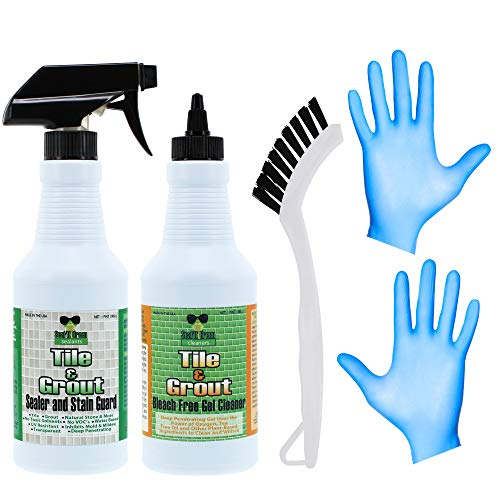 Tile and Grout Gel Cleaner & Stain Guard Sealer - Bleach-Free, Non-Toxic Professional Strength - 16 oz - Combo Pack Includes Grout Cleaner Gel, Grout Sealer, Grout Brush and Nitrile Gloves