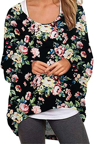Meyison Damen Lose Asymmetrisch Jumper Sweatshirt Pullover Bluse Oberteile Oversized Tops T Shirt (Medium, 02 Blumen2)