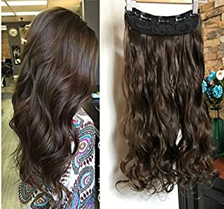 20 Inches One Piece Wavy Curly Half Head Clip in Hair Extensions Solid Color DL(Dark Brown)