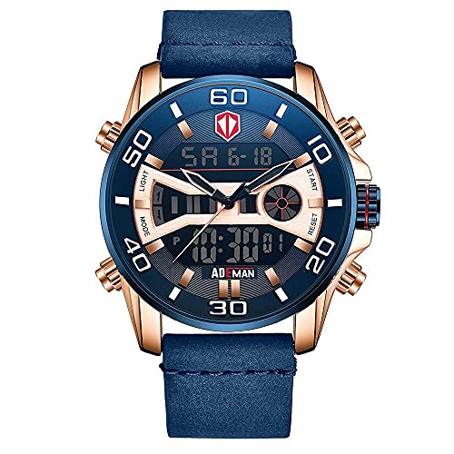 XYCSM 3Atm Reloj Impermeable, Puntero Digital Doble Pantalla Cinturón de Cuero Moda Clásico Reloj de Pulsera Clásico Militar Analógico Luminoso Calendario Multifuncional Reloj Cronó