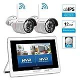 1080P Überwachungskamera Set mit 12 Zoll Monitor 2STK 1080P Überwachungskamera Aussen WLAN,...