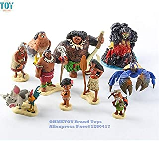 LAJKS 10Pcs Moana Action Figures Toys Maui Heihei Chief Tui Tala Doll Princess Toy Cake Topper Kids Birthday Gift Must-Have 8 Year Old Girl Gifts Favourite Movie Superhero Party Decorations