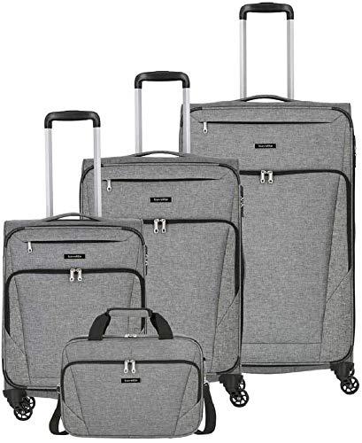 travelite 4-Rad Weichgepäck Koffer Set Größen L/M/S, Handgepäck erfüllt IATA Bordgepäck Maß, Gepäck Serie JAKKU: Leichter Trolley im klassischen Design, 092540-04, anthrazit