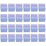 24pcs VORCOOL 4 * 4 * 3 cm Bowknot stile orecchini bracciale collana gioielli archiviazione scatole regalo scatole casi organizzatori