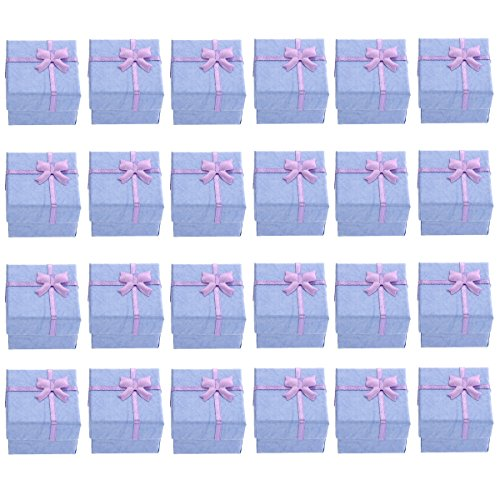 TinkSky 24pcs 4*4*3cm Bowknot Style Earring Bracelet Necklace Jewelery Storage Boxes Gift Boxes Cases Organizers (Purple)