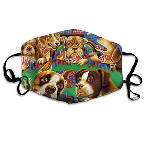 Mond Cover Gezicht Cover Honden Spelen Poker Kaarten Bibliotheek Gedrukt Gezichtsdecoratie Voor Vrouwen En Mannen