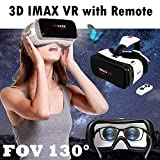 VR Glasses Virtual Reality Headset w/Remote for iPhone 11 Pro XS XR X 8 7 6S 6 Plus Samsung Galaxy A10e S10 S9 S8 S7 S6 Edge, FOV 130°VR Goggle for 3D Movie & Game for iOS Android PC Cellphone, Black