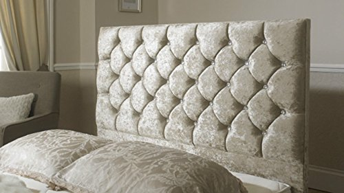 mm08enn Luxury Crushed Velvet Diamond/Diamante ATN Headboard in 24' Height (4FT6 DOUBLE, CREAM)