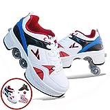 Zapatos De Polea Invisibles, Zapatos para Caminar Automáticos, Zapatos De Patines con Ruedas Zapatillas De Patinaje sobre Ruedas De Deformación De Doble Fila, para Niños Y Niñas,C-37