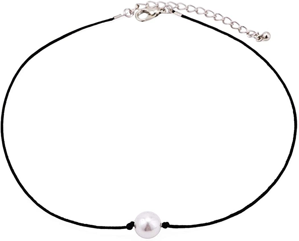 Yalice Simple Pearl Choker Necklace Chain Black Rope Necklaces Jewelry for Women and Girls