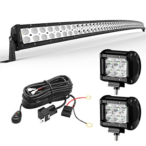 Led Light Bar LEDKINGDOMUS 300W 52 inches Curved Light Bar & 2pc 4 inches 18W Flood Light Pods & Switch Wiring Harness Compatible for Jeep, Pickup, Truck, Car, ATV, 4x4, 4WD, Off Road Driving Light