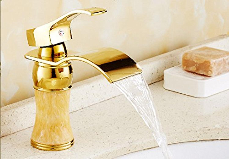 QIMEIM Waschtischarmatur Wasserhahn Bad Waschtisch Messing Warmes und kaltes Wasser antiken Wasserfall Gold Badenzimmer Waschbeckenarmatur