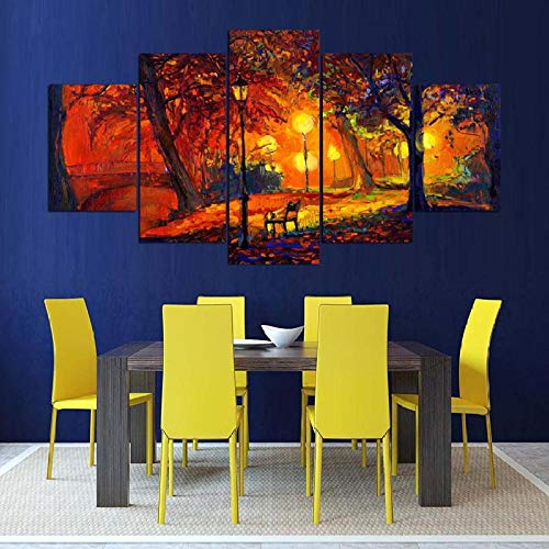 Poouoooy Canvas Painting Wall Art 5 Pieces of high-Definition murals Watercolor Painting of Autumn Park Night Scene Modern Canvas Picture Poster-Frame 40x60 40x80 40x100cm