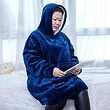 Rancross - Manta Tipo Sudadera con Capucha de algodón y Forro Polar, Unisex, Color Azul