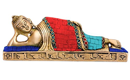 Aone India Reclining Buddha Statue Brass Sculpture