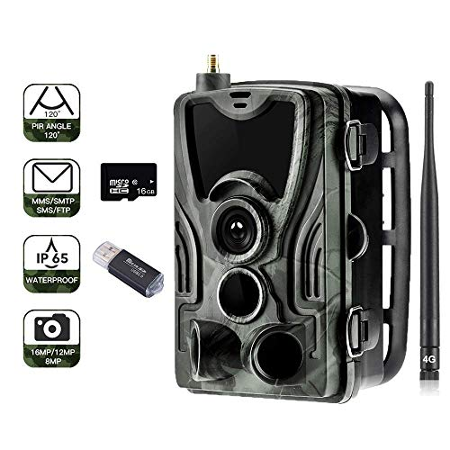 "SUNTEKCAM 4G Wildkamera 20MP 1080P Trail camere MMS Wildkamera (4G 3G GSM) Jagdkamera, 0,3s Auslösezeit, Infrarote 30m 940nm IR LED IP65 Wasserdicht 2.4"" Bildschirm(SD Card Included) 801LTE Plus APP"