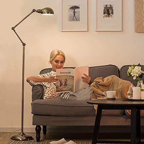 LaMP-XUE Verstelbare vintage messing vloerlamp 65 inch rustieke vloerzaklamp in ged bronzen afwerking, staande lamp met metalen kap voor woonkamer, leeskamer, slaapkamer of kantoor.