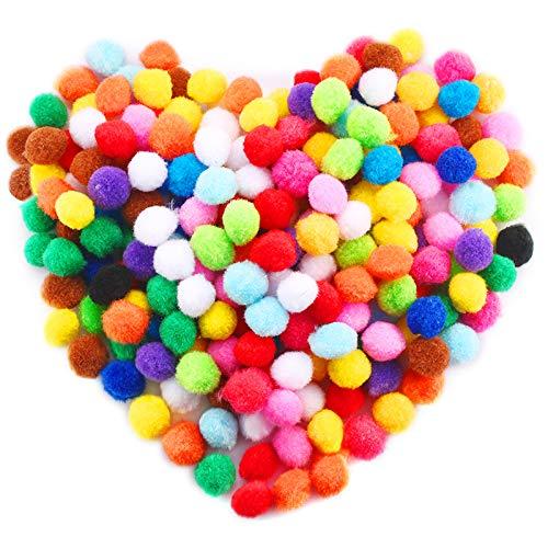 Caydo 240 Pieces 1 Inch Assorted Pom Poms, Pompoms for Hobby Supplies and DIY Creative Crafts Decorations