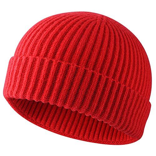 Swag Wool Knit Cuff Short Fisherman Beanie for Men Women, Winter Warm Hats, Red