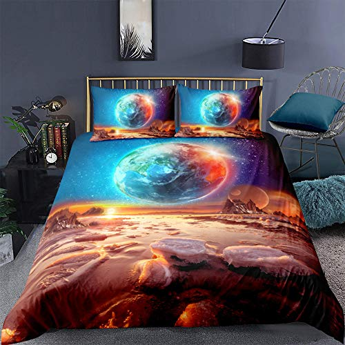 ACVMF Printed Duvet Cover Magic Earth Bedding Set 3 pcs (1x Duvet Cover and 2 x Pillowcases) 100% Polyester Microfiber Quilt Cover Sets For adults children 55.12 x 78.74 inch